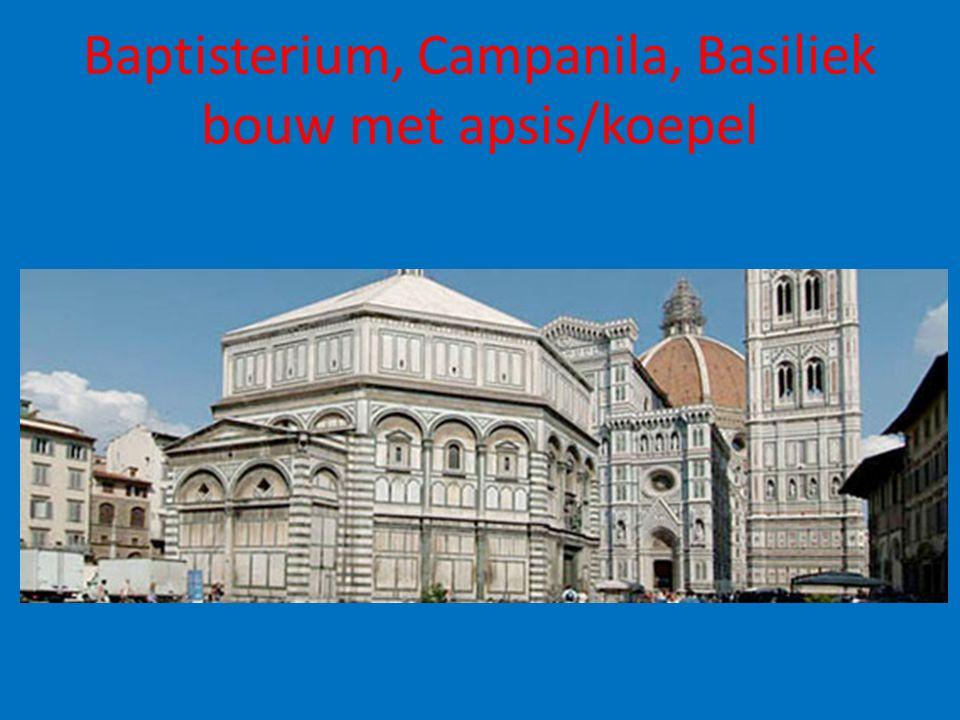 Baptisterium, Campanila, Basiliek bouw met apsis/koepel