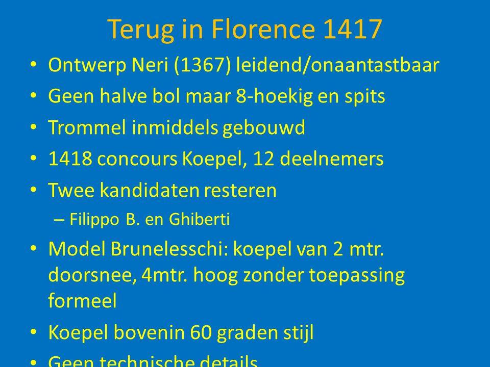 Terug in Florence 1417 Ontwerp Neri (1367) leidend/onaantastbaar Geen halve bol maar 8-hoekig en spits Trommel inmiddels gebouwd 1418 concours Koepel, 12 deelnemers Twee kandidaten resteren – Filippo B.