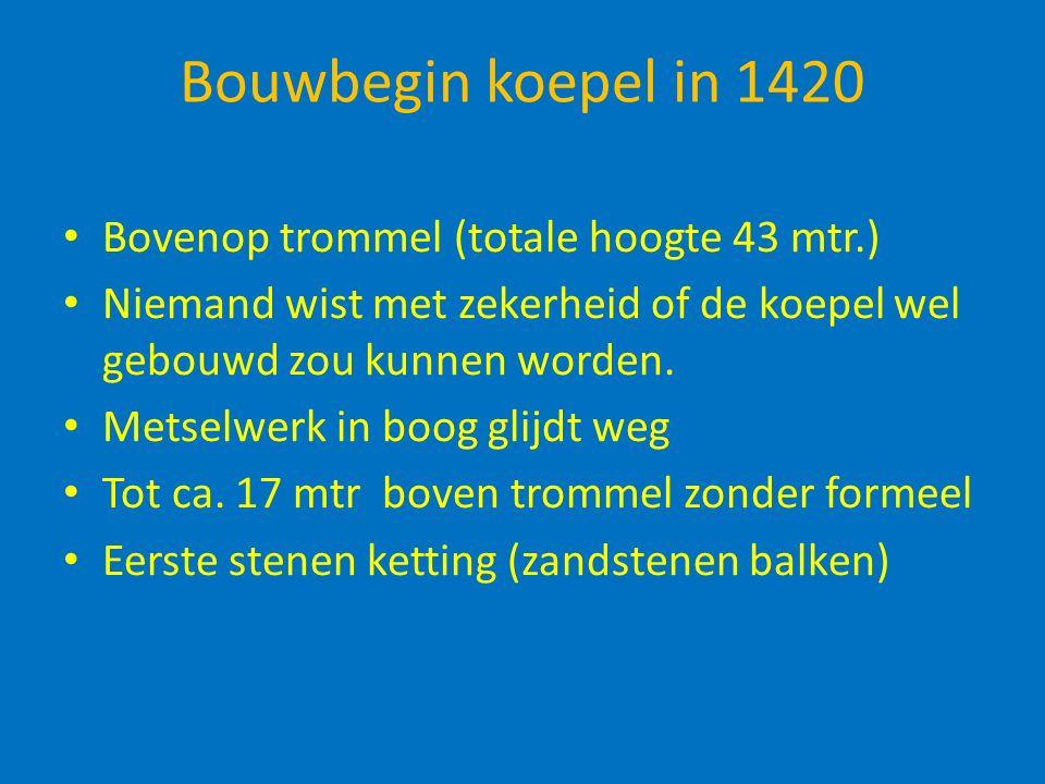 Bouwbegin koepel in 1420 Bovenop trommel (totale hoogte 43 mtr.) Niemand wist met zekerheid of de koepel wel gebouwd zou kunnen worden.