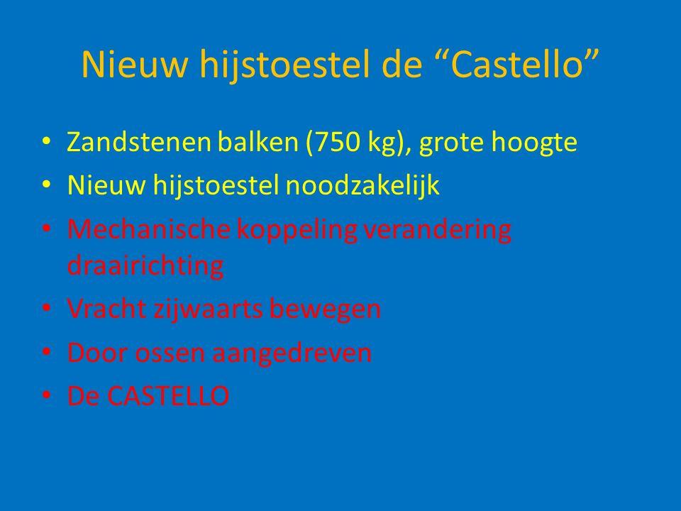 Nieuw hijstoestel de Castello Zandstenen balken (750 kg), grote hoogte Nieuw hijstoestel noodzakelijk Mechanische koppeling verandering draairichting Vracht zijwaarts bewegen Door ossen aangedreven De CASTELLO