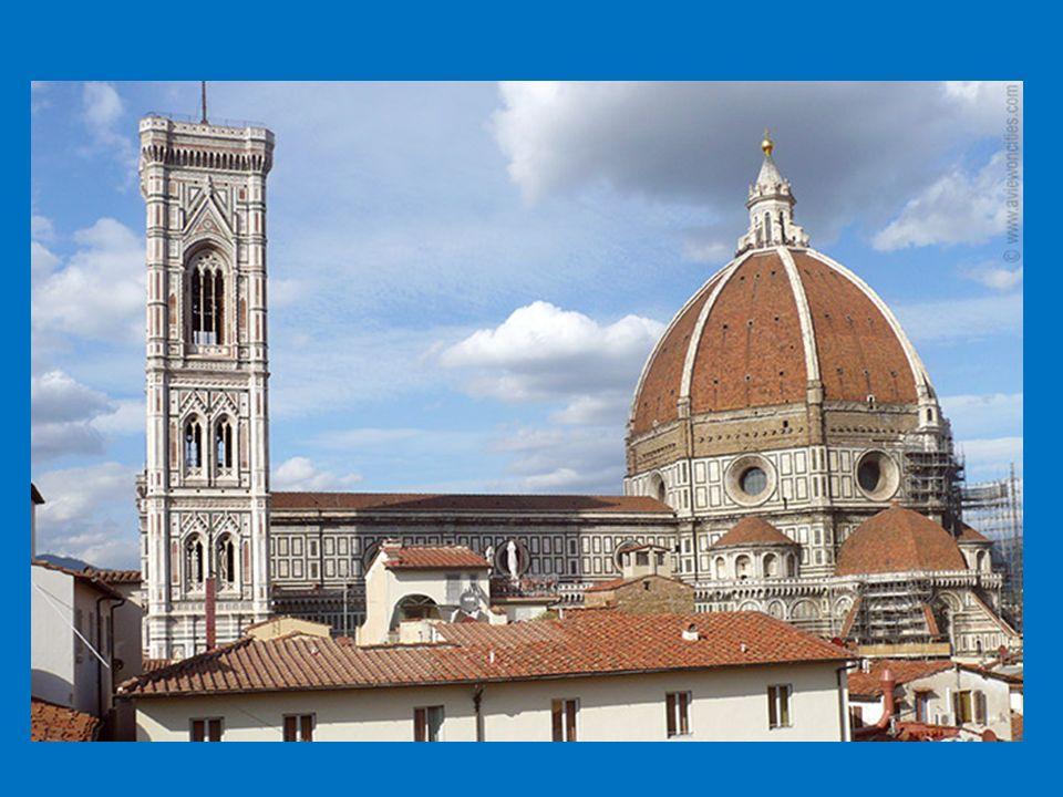 Il Duomo (kathedraal) 3 separate gebouwen Baptisterium, Campanile, il Duomo 4 na grootste kathedraal in Europa Duomo: ca 150 jaar bouwtijd Capaciteit 30.000 gelovigen Facade: wit, roze, groen marmer Na 600 jaar buitenkant gevel voltooid Grootste koepel (spanwijdte 50/42 m.