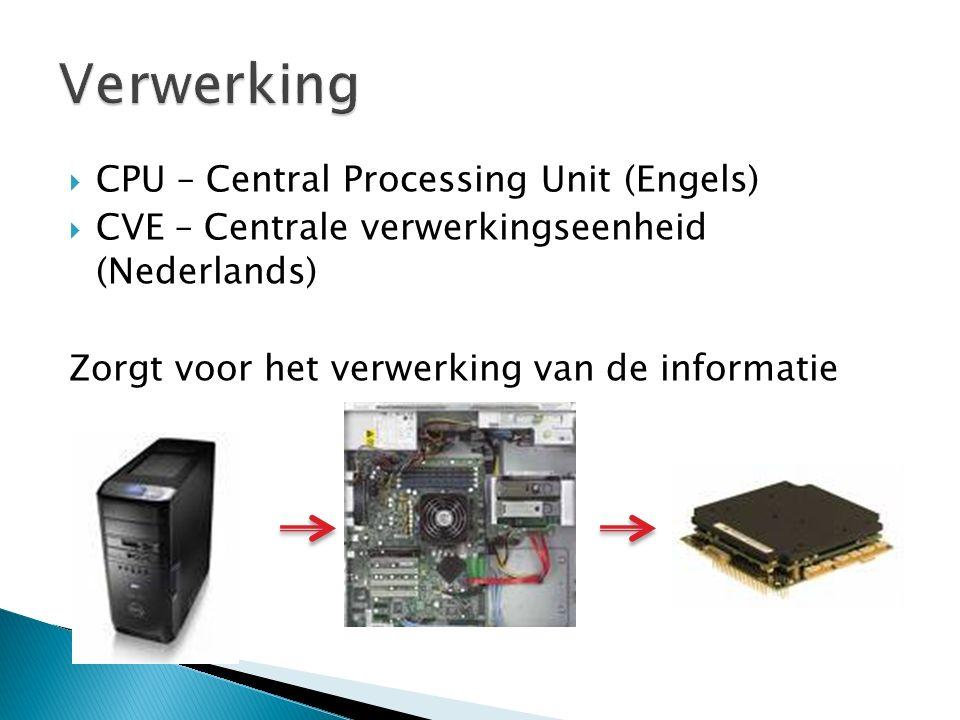  CPU – Central Processing Unit (Engels)  CVE – Centrale verwerkingseenheid (Nederlands) Zorgt voor het verwerking van de informatie