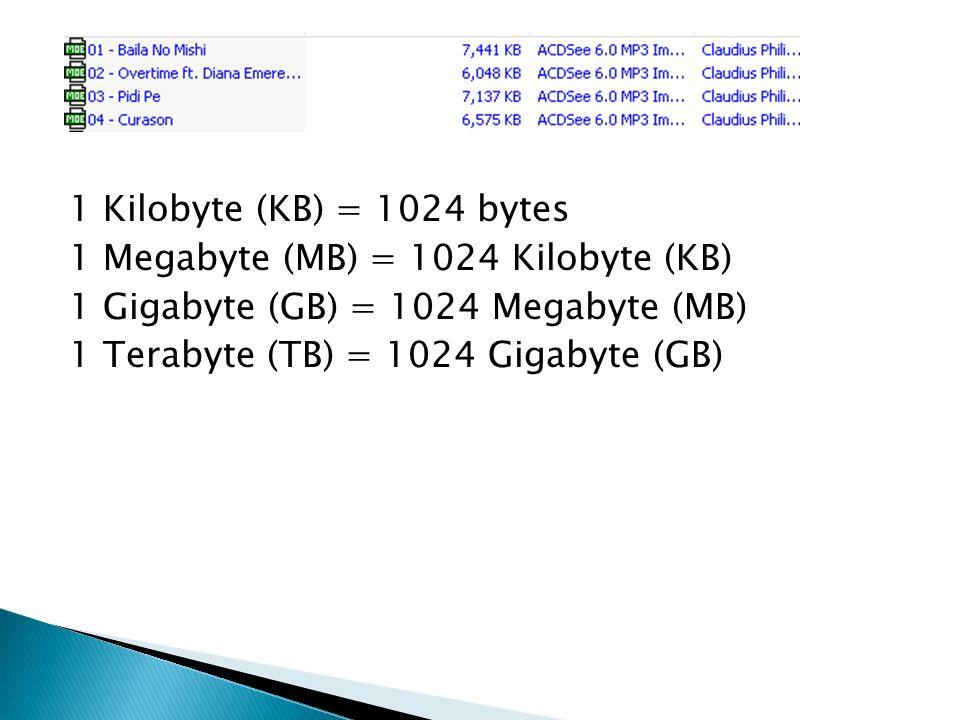 1 Kilobyte (KB) = 1024 bytes 1 Megabyte (MB) = 1024 Kilobyte (KB) 1 Gigabyte (GB) = 1024 Megabyte (MB) 1 Terabyte (TB) = 1024 Gigabyte (GB)