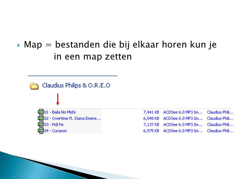  Map = bestanden die bij elkaar horen kun je in een map zetten