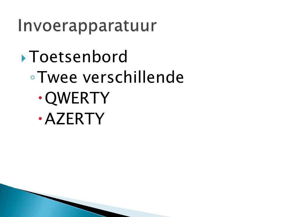  Toetsenbord ◦ Twee verschillende  QWERTY  AZERTY
