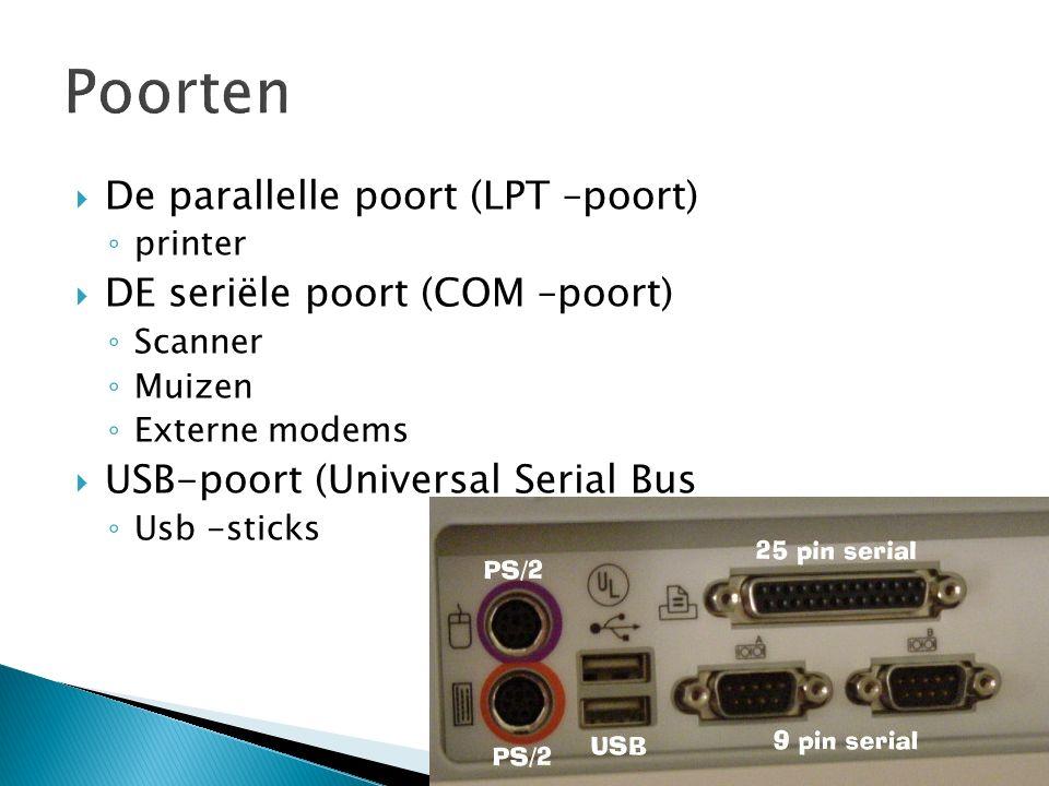  De parallelle poort (LPT –poort) ◦ printer  DE seriële poort (COM –poort) ◦ Scanner ◦ Muizen ◦ Externe modems  USB-poort (Universal Serial Bus ◦ Usb -sticks