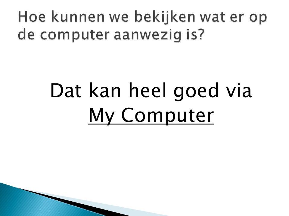 Dat kan heel goed via My Computer Hoe kunnen we bekijken wat er op de computer aanwezig is