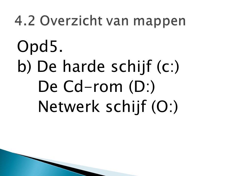 Opd5. b) De harde schijf (c:) De Cd-rom (D:) Netwerk schijf (O:) 4.2 Overzicht van mappen