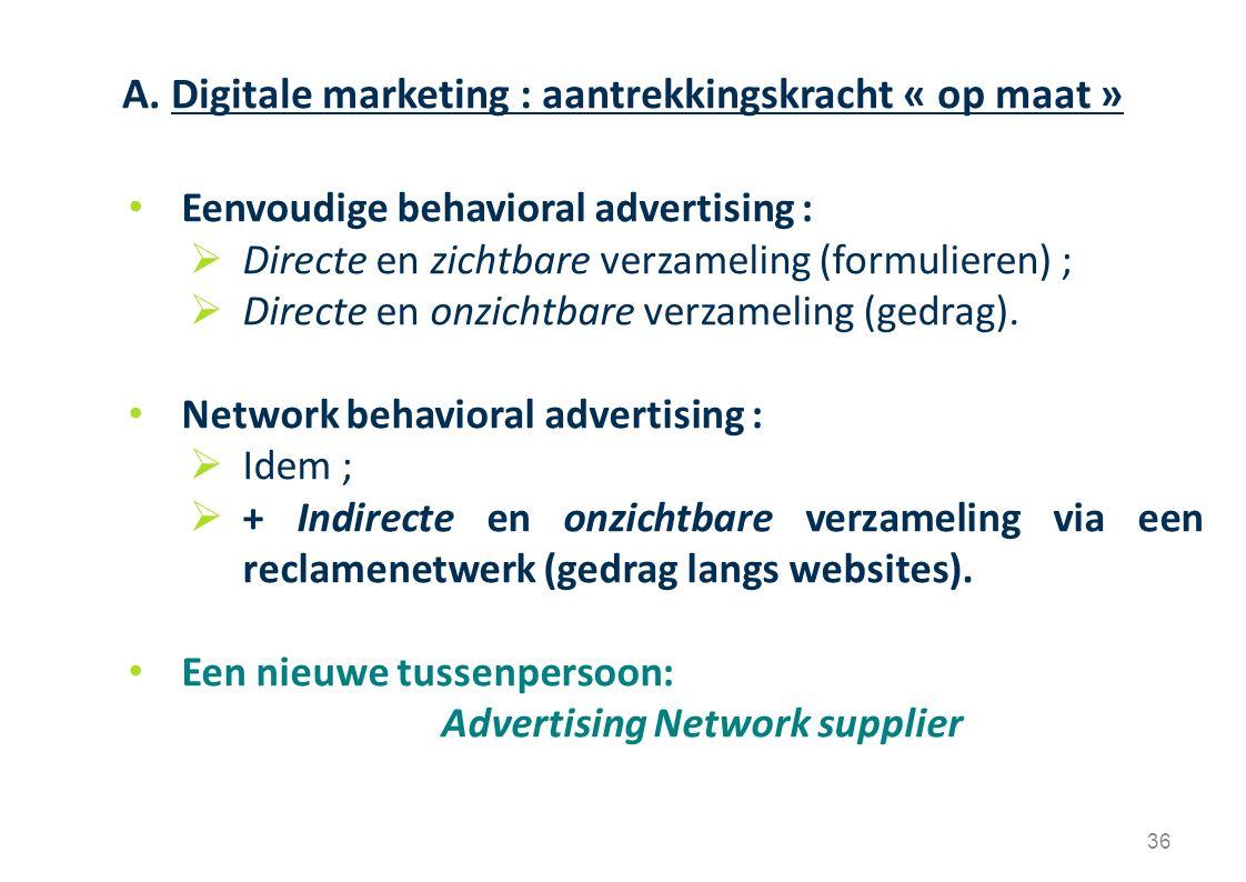 Eenvoudige behavioral advertising :  Directe en zichtbare verzameling (formulieren) ;  Directe en onzichtbare verzameling (gedrag). Network behavior