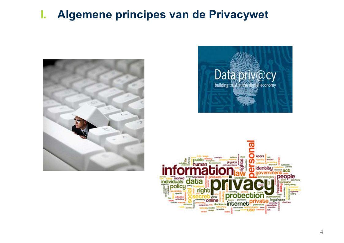 5 O.Bronnen Belgische Privacywet: Wet van 8 december 1992 tot bescherming van de persoonlijke levenssfeer ten opzichte van de verwerking van persoonsgegevens Europese Privacyrichtlijn: Richtlijn 95/46/EG van het Europees Parlement en de Raad van 24 oktober 1995 betreffende de bescherming van natuurlijke personen in verband met de verwerking van persoonsgegevens en betreffende het vrije verkeer van die gegevens  Dit wettelijk kader (daterend van het begin van de jaren '90) regelt onder welke voorwaarden persoonsgegevens mogen worden ingezameld en gebruikt door bedrijven en door de eindgebruikers zelf.