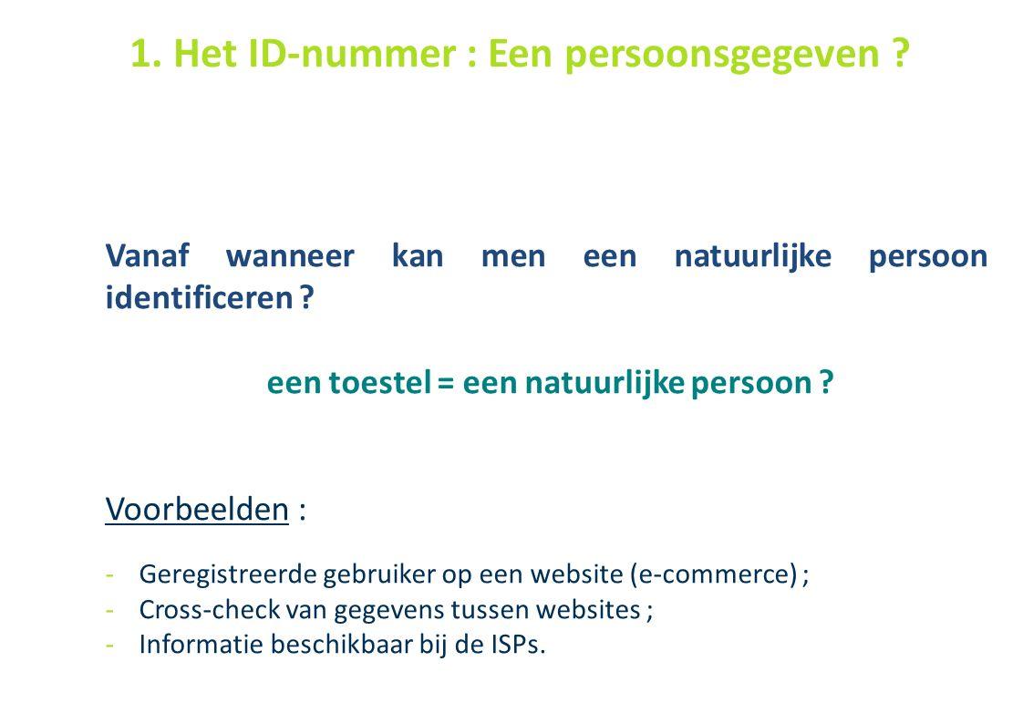41 Vanaf wanneer kan men een natuurlijke persoon identificeren ? een toestel = een natuurlijke persoon ? Voorbeelden : -Geregistreerde gebruiker op ee