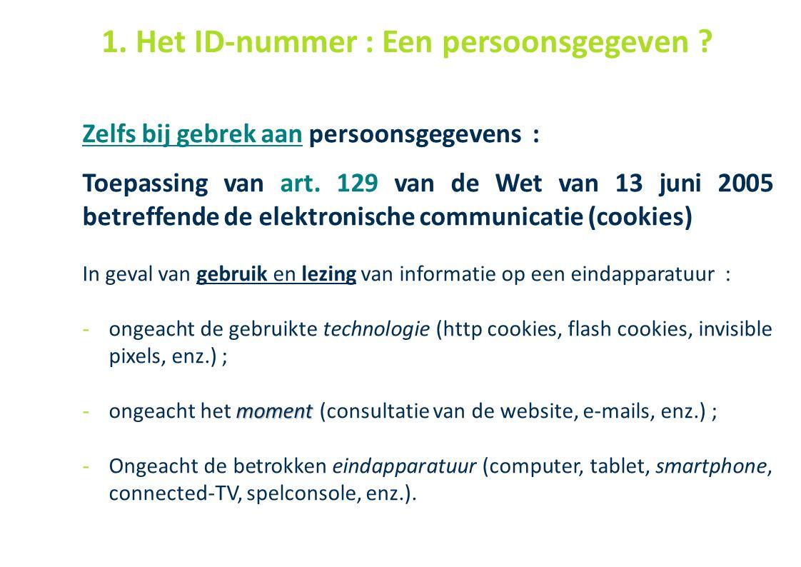 44 Zelfs bij gebrek aan persoonsgegevens : Toepassing van art. 129 van de Wet van 13 juni 2005 betreffende de elektronische communicatie (cookies) In