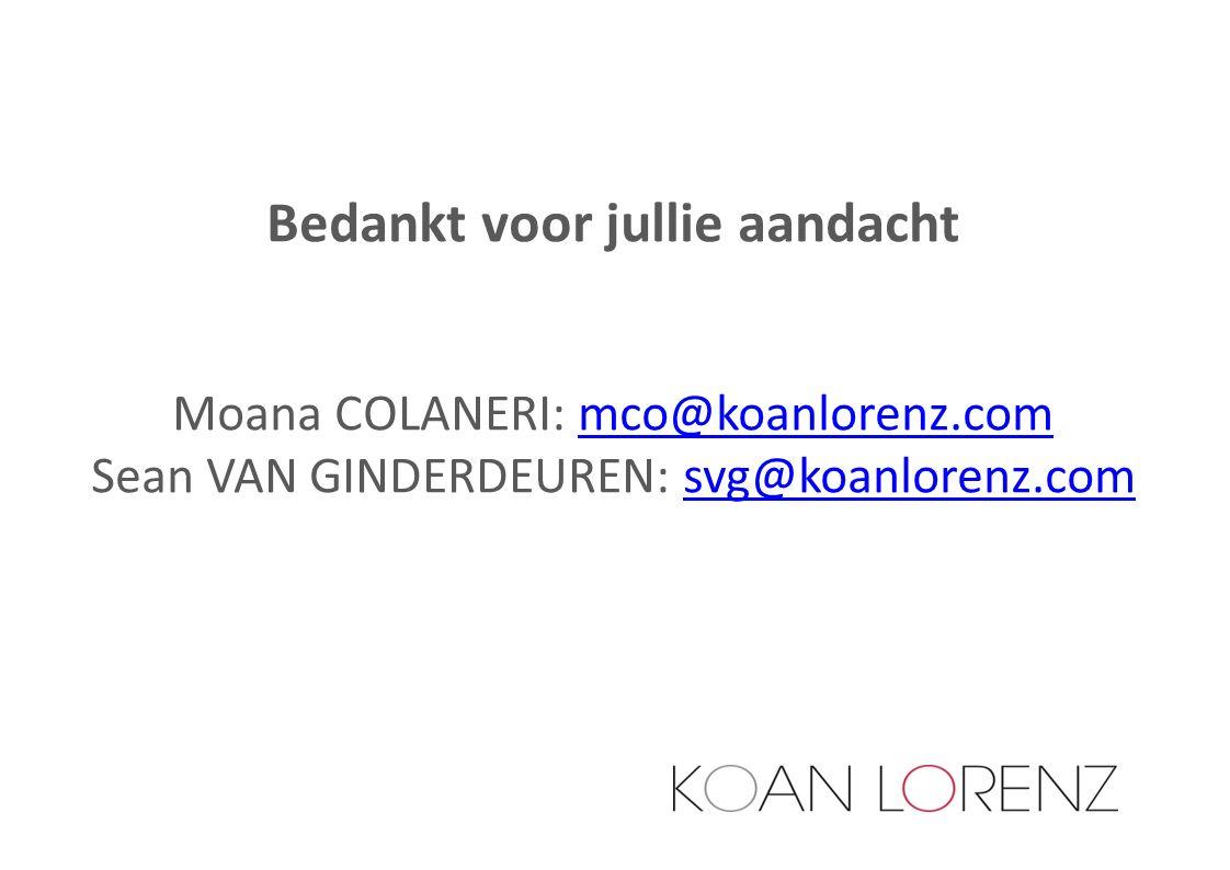 Bedankt voor jullie aandacht Moana COLANERI: mco@koanlorenz.commco@koanlorenz.com Sean VAN GINDERDEUREN: svg@koanlorenz.comsvg@koanlorenz.com