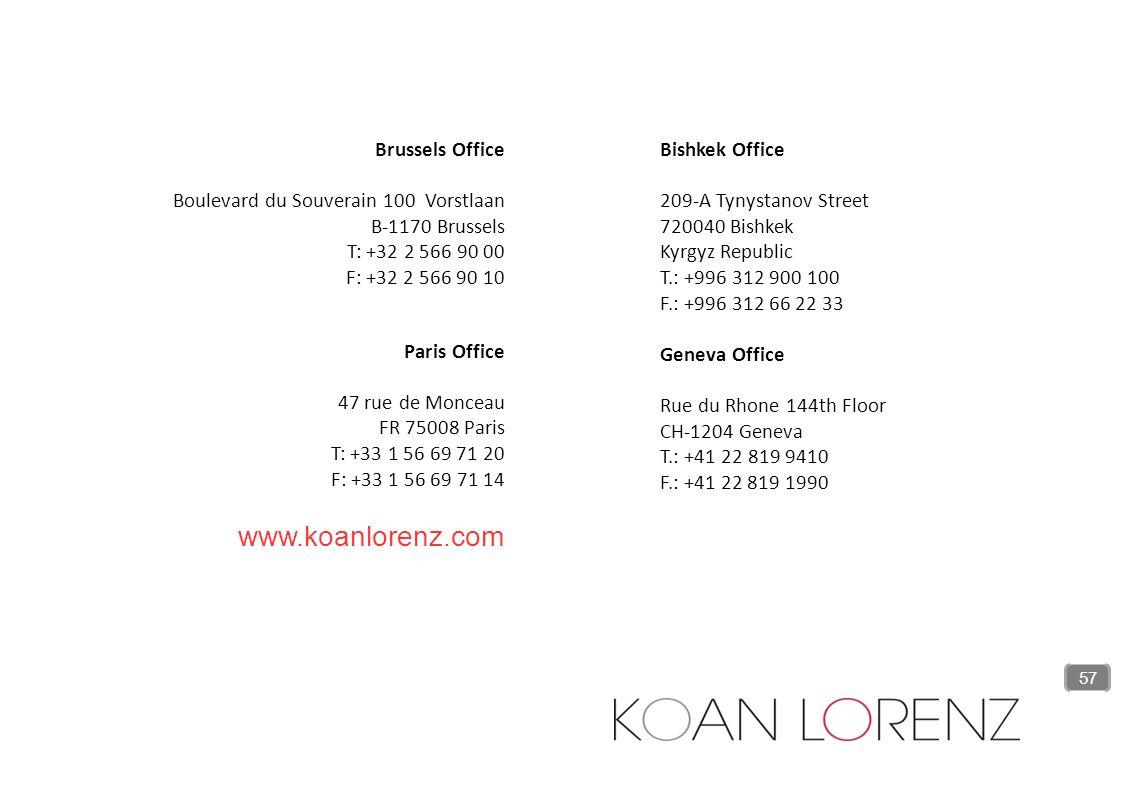 Brussels Office Boulevard du Souverain 100 Vorstlaan B-1170 Brussels T: +32 2 566 90 00 F: +32 2 566 90 10 Paris Office 47 rue de Monceau FR 75008 Par
