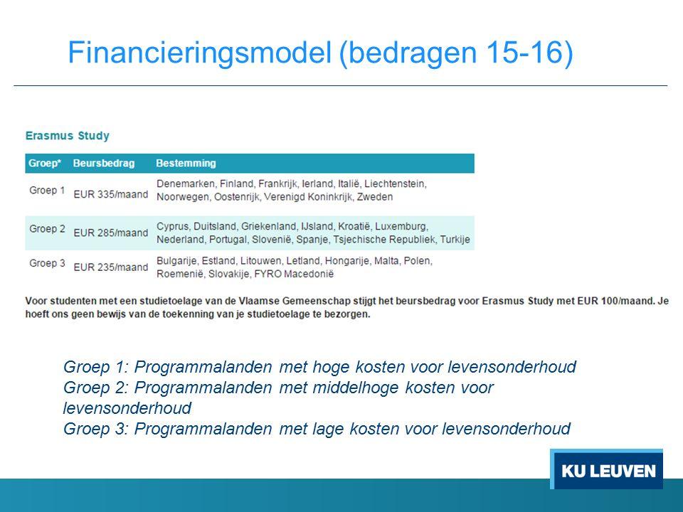 Financieringsmodel (bedragen 15-16) Groep 1: Programmalanden met hoge kosten voor levensonderhoud Groep 2: Programmalanden met middelhoge kosten voor