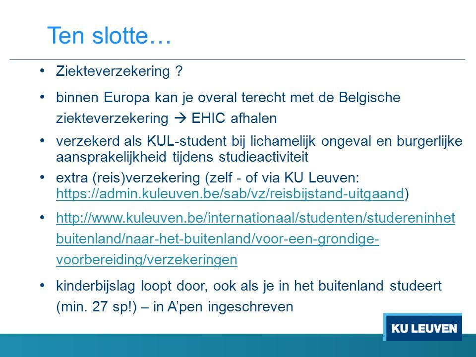 Ziekteverzekering ? binnen Europa kan je overal terecht met de Belgische ziekteverzekering  EHIC afhalen verzekerd als KUL-student bij lichamelijk on