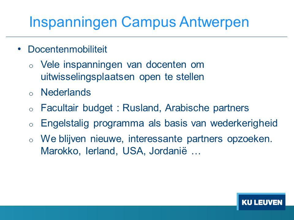 Docentenmobiliteit o Vele inspanningen van docenten om uitwisselingsplaatsen open te stellen o Nederlands o Facultair budget : Rusland, Arabische part