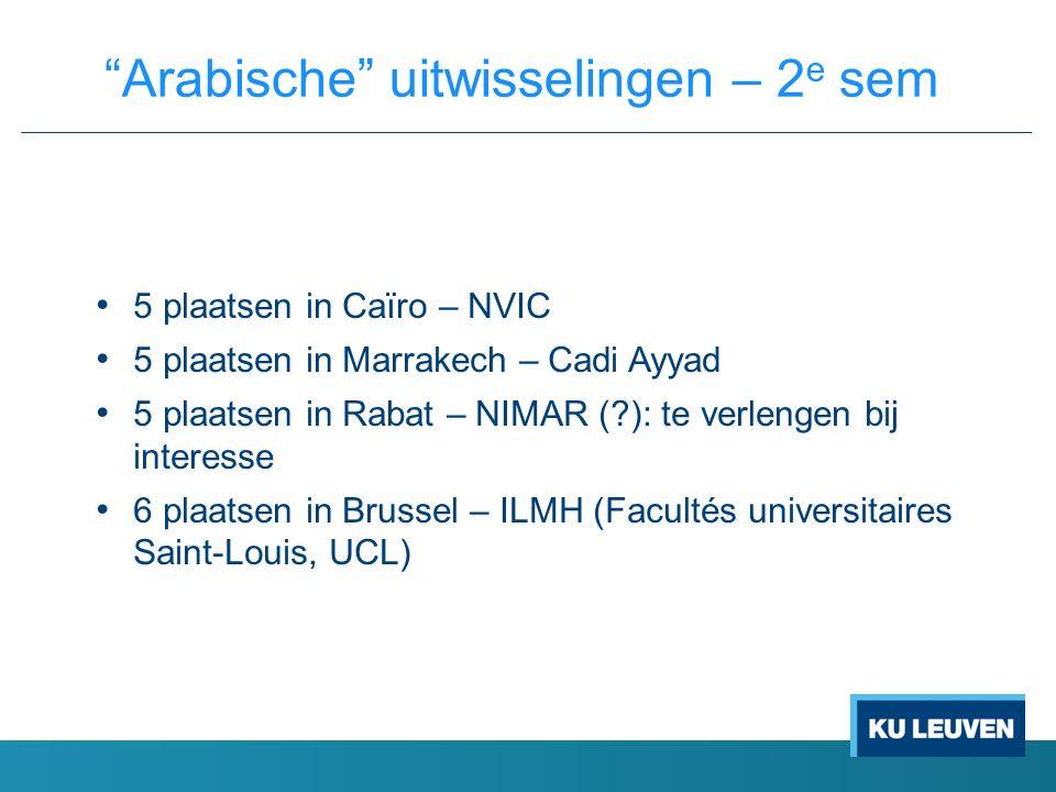 5 plaatsen in Caïro – NVIC 5 plaatsen in Marrakech – Cadi Ayyad 5 plaatsen in Rabat – NIMAR ( ): te verlengen bij interesse 6 plaatsen in Brussel – ILMH (Facultés universitaires Saint-Louis, UCL) Arabische uitwisselingen – 2 e sem