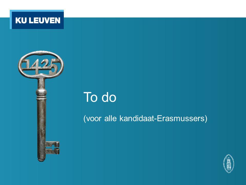 To do (voor alle kandidaat-Erasmussers)