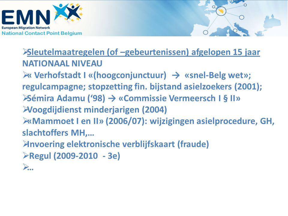  Sleutelmaatregelen (of –gebeurtenissen) afgelopen 15 jaar NATIONAAL NIVEAU  « Verhofstadt I «(hoogconjunctuur) → «snel-Belg wet»; regulcampagne; st