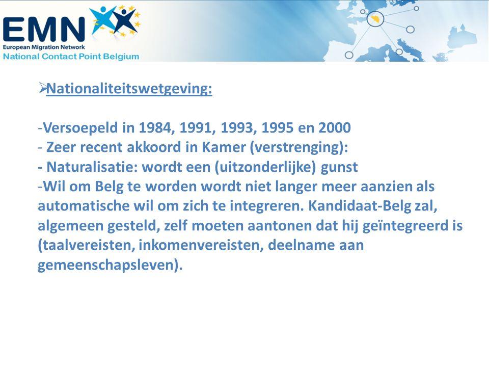  Nationaliteitswetgeving: -Versoepeld in 1984, 1991, 1993, 1995 en 2000 - Zeer recent akkoord in Kamer (verstrenging): - Naturalisatie: wordt een (ui