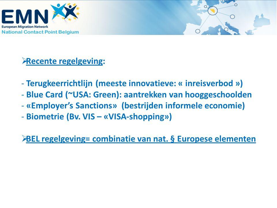  Recente regelgeving: - Terugkeerrichtlijn (meeste innovatieve: « inreisverbod ») - Blue Card (~USA: Green): aantrekken van hooggeschoolden - «Employ
