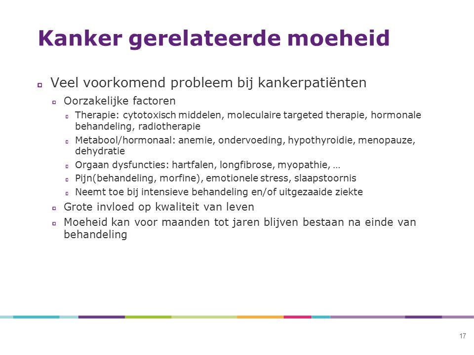 17 Kanker gerelateerde moeheid Veel voorkomend probleem bij kankerpatiënten Oorzakelijke factoren Therapie: cytotoxisch middelen, moleculaire targeted