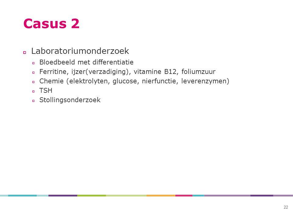 22 Casus 2 Laboratoriumonderzoek Bloedbeeld met differentiatie Ferritine, ijzer(verzadiging), vitamine B12, foliumzuur Chemie (elektrolyten, glucose,