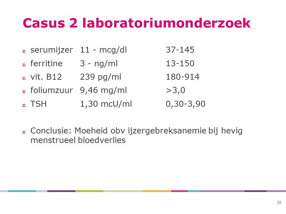 Casus 2 laboratoriumonderzoek serumijzer11 - mcg/dl37-145 ferritine3 - ng/ml13-150 vit. B12239 pg/ml180-914 foliumzuur9,46 mg/ml>3,0 TSH1,30 mcU/ml0,3