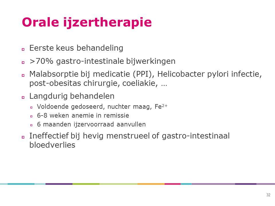 32 Orale ijzertherapie Eerste keus behandeling >70% gastro-intestinale bijwerkingen Malabsorptie bij medicatie (PPI), Helicobacter pylori infectie, po