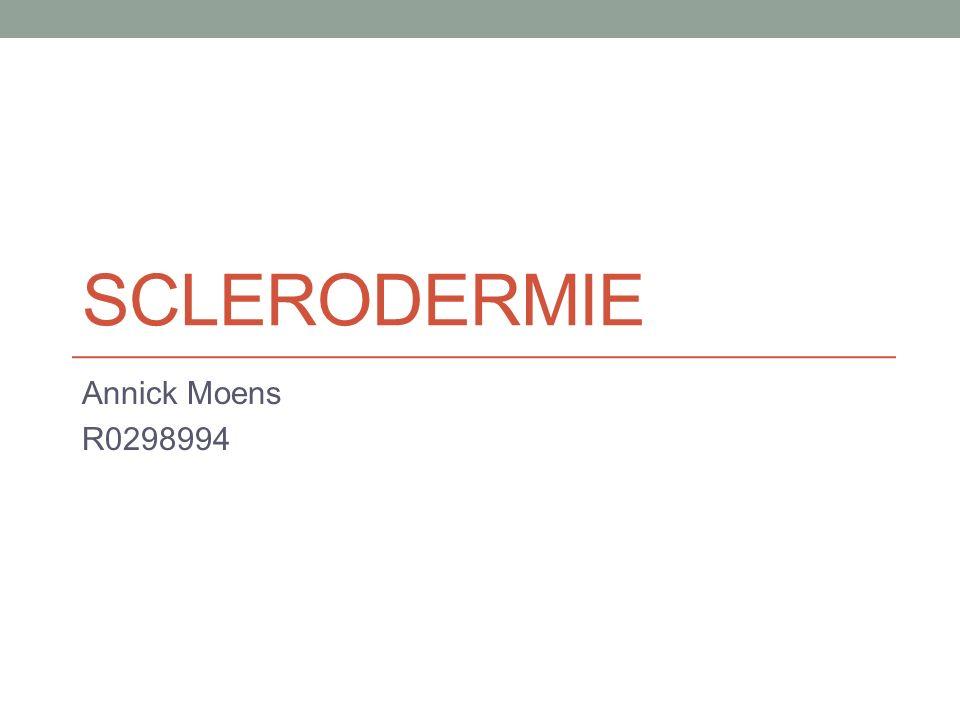 Systeem sclerose Types: Diffuse systeemsclerose Anti-Scl70 Limited systeemsclerose CREST syndroom Anti-centromeer Systeemsclerose zonder scleroderma Pathofysiologie: Obliteratieve vasculopathie + autoimmuniteit + fibrosering huid en interne organen