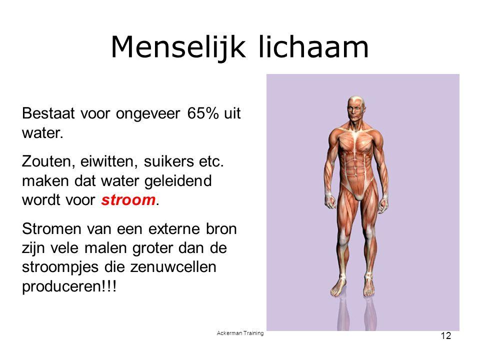 Ackerman Training 12 Menselijk lichaam Bestaat voor ongeveer 65% uit water. Zouten, eiwitten, suikers etc. maken dat water geleidend wordt voor stroom