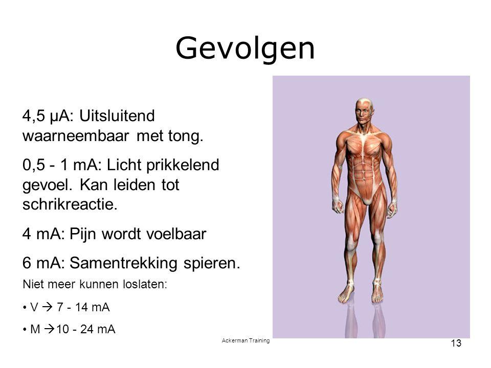 Ackerman Training 13 Gevolgen 4,5 µA: Uitsluitend waarneembaar met tong. 0,5 - 1 mA: Licht prikkelend gevoel. Kan leiden tot schrikreactie. 4 mA: Pijn