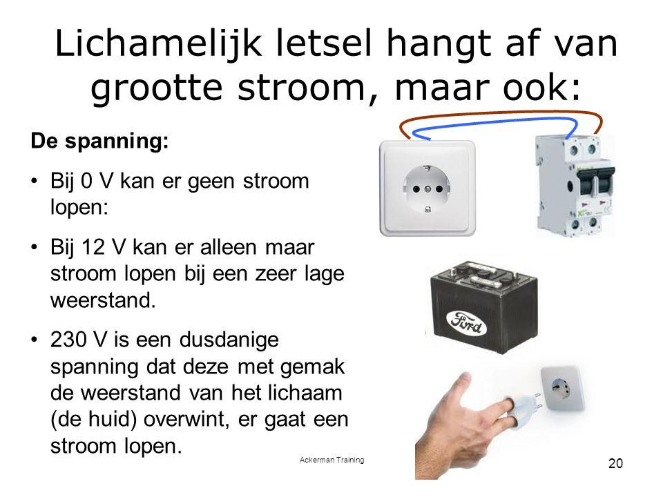 Ackerman Training 20 De spanning: Bij 0 V kan er geen stroom lopen: Bij 12 V kan er alleen maar stroom lopen bij een zeer lage weerstand. 230 V is een