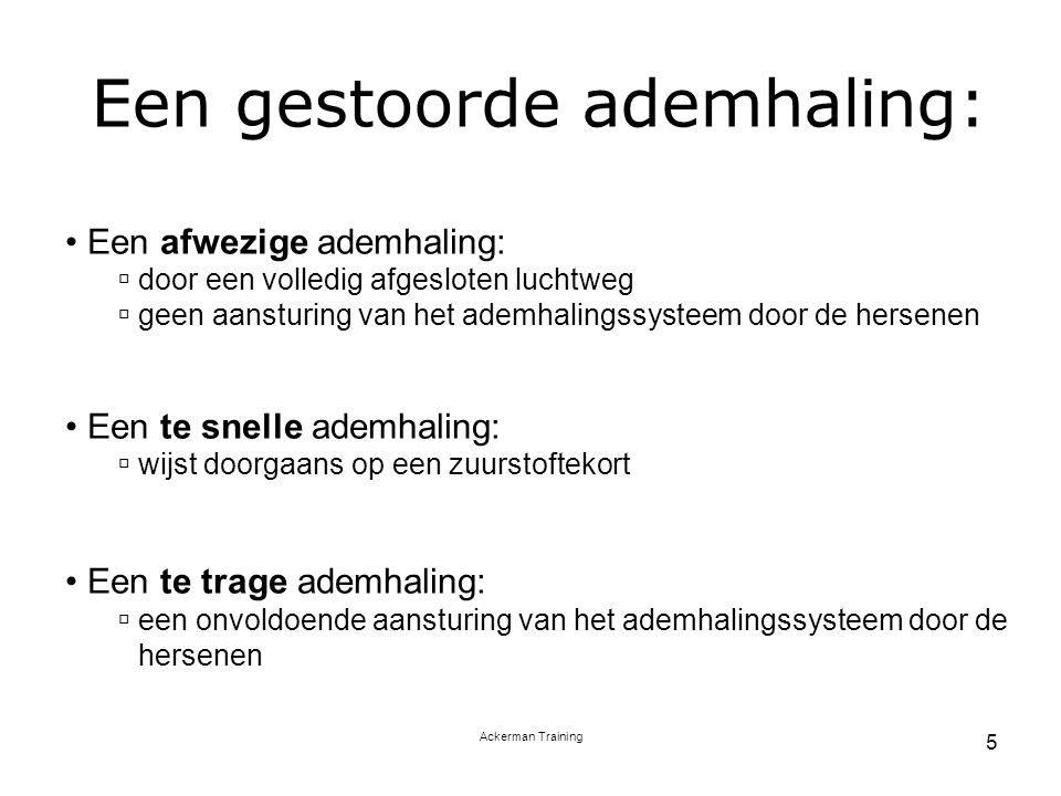 Ackerman Training 5 Een gestoorde ademhaling: Een afwezige ademhaling:  door een volledig afgesloten luchtweg  geen aansturing van het ademhalingssy