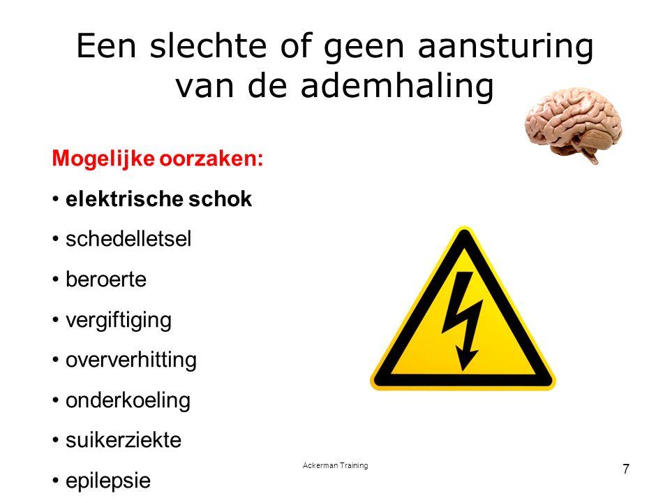 Ackerman Training 7 Een slechte of geen aansturing van de ademhaling Mogelijke oorzaken: elektrische schok schedelletsel beroerte vergiftiging oververhitting onderkoeling suikerziekte epilepsie