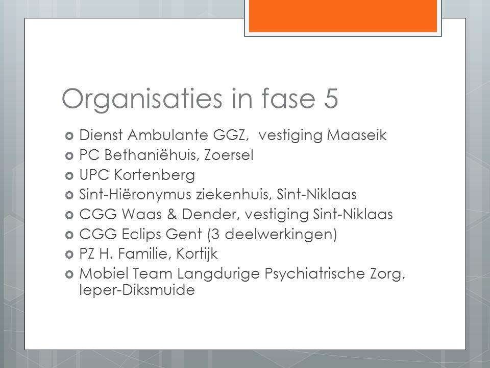 Organisaties in fase 5  Dienst Ambulante GGZ, vestiging Maaseik  PC Bethaniëhuis, Zoersel  UPC Kortenberg  Sint-Hiëronymus ziekenhuis, Sint-Niklaas  CGG Waas & Dender, vestiging Sint-Niklaas  CGG Eclips Gent (3 deelwerkingen)  PZ H.