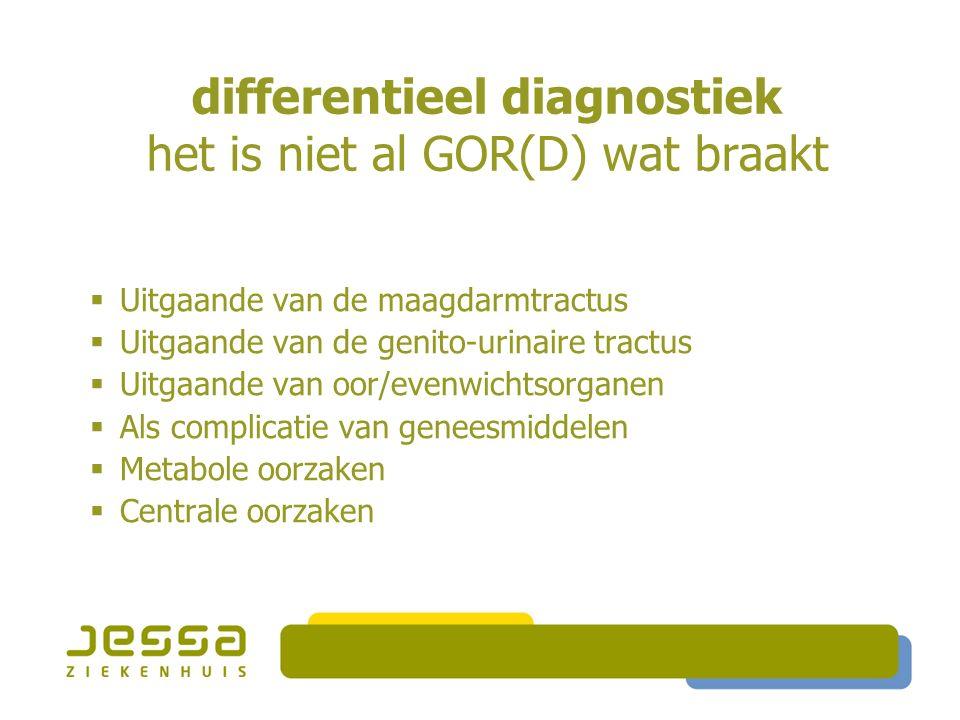 differentieel diagnostiek het is niet al GOR(D) wat braakt  Mechanische o  Uitgaande van de maagdarmtractus  Uitgaande van de genito-urinaire tractus  Uitgaande van oor/evenwichtsorganen  Als complicatie van geneesmiddelen  Metabole oorzaken  Centrale oorzaken