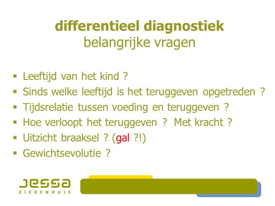differentieel diagnostiek belangrijke vragen  Leeftijd van het kind .