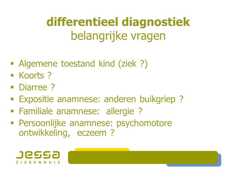 differentieel diagnostiek belangrijke vragen  Algemene toestand kind (ziek )  Koorts .