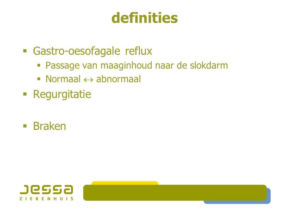 definities  Gastro-oesofagale reflux  Passage van maaginhoud naar de slokdarm  Normaal  abnormaal  Regurgitatie  Passage van maaginhoud tot in de oropharynx  Braken
