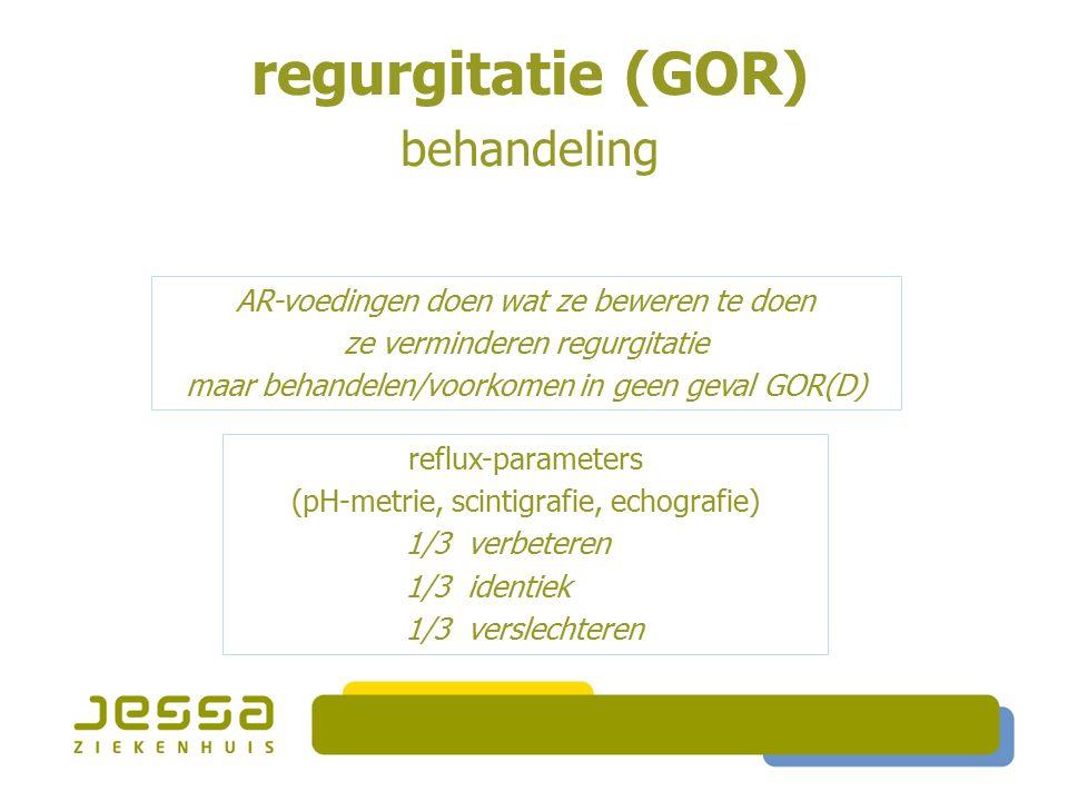 reflux-parameters (pH-metrie, scintigrafie, echografie) 1/3 verbeteren 1/3 identiek 1/3 verslechteren AR-voedingen doen wat ze beweren te doen ze verminderen regurgitatie maar behandelen/voorkomen in geen geval GOR(D) regurgitatie (GOR) behandeling