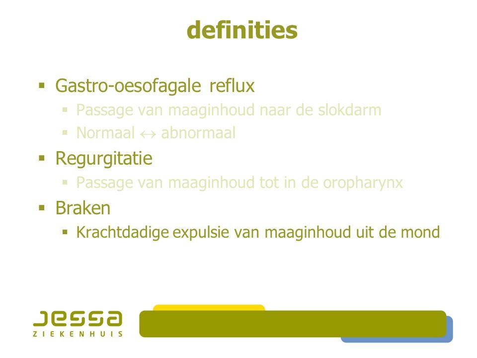 definities  Gastro-oesofagale reflux  Passage van maaginhoud naar de slokdarm  Normaal  abnormaal  Regurgitatie  Passage van maaginhoud tot in de oropharynx  Braken  Krachtdadige expulsie van maaginhoud uit de mond
