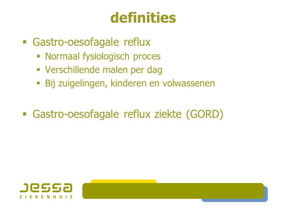 definities  Gastro-oesofagale reflux  Normaal fysiologisch proces  Verschillende malen per dag  Bij zuigelingen, kinderen en volwassenen  Gastro-oesofagale reflux ziekte (GORD)