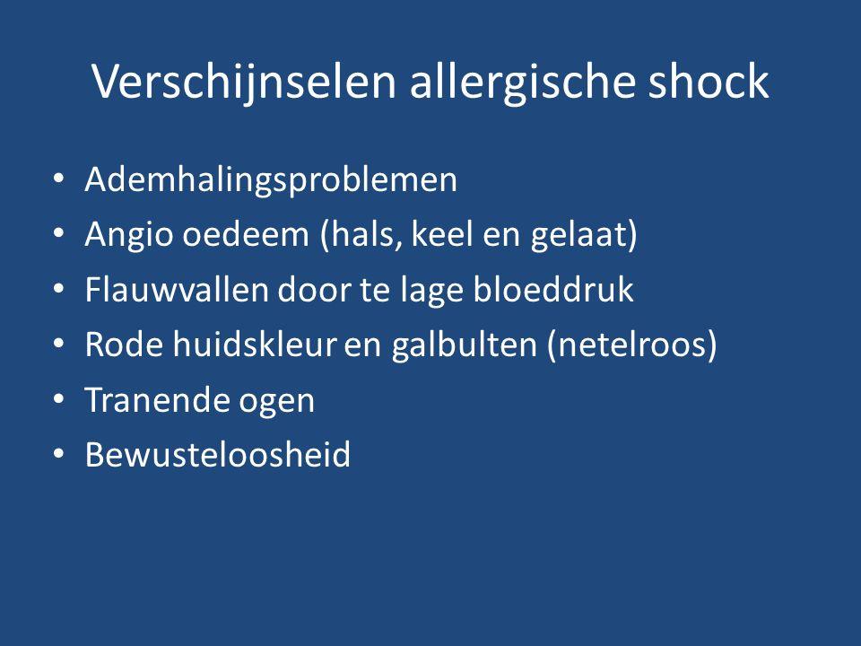 Verschijnselen allergische shock Ademhalingsproblemen Angio oedeem (hals, keel en gelaat) Flauwvallen door te lage bloeddruk Rode huidskleur en galbulten (netelroos) Tranende ogen Bewusteloosheid