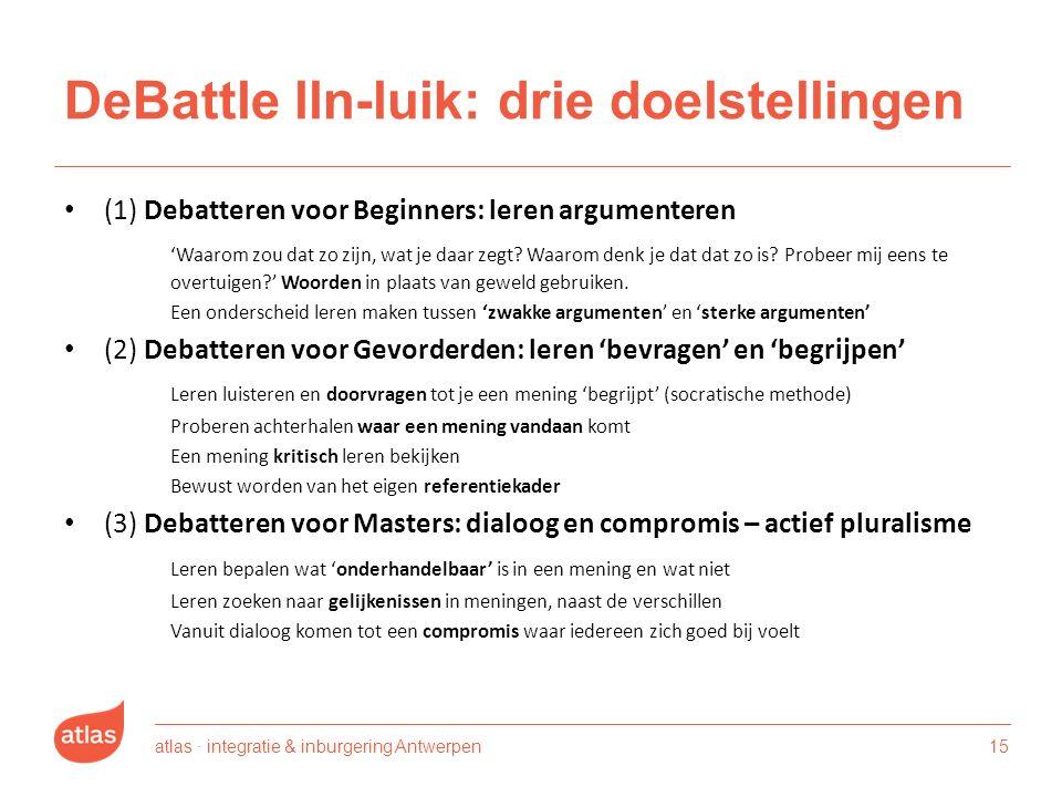 DeBattle lln-luik: drie doelstellingen (1) Debatteren voor Beginners: leren argumenteren 'Waarom zou dat zo zijn, wat je daar zegt.