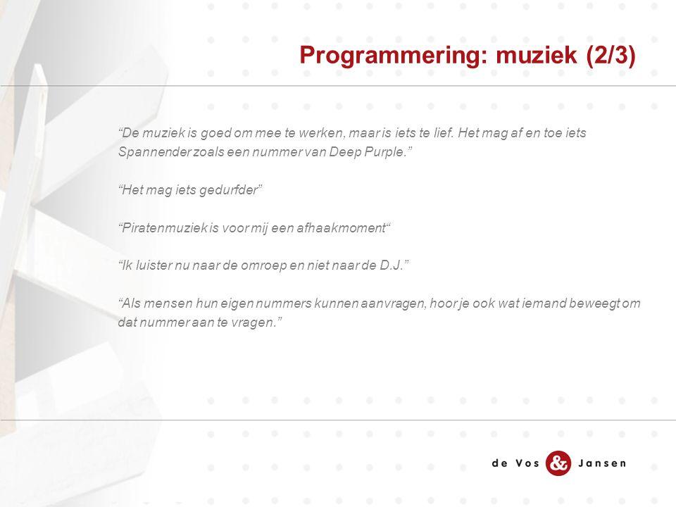 Programmering: muziek (2/3) De muziek is goed om mee te werken, maar is iets te lief.