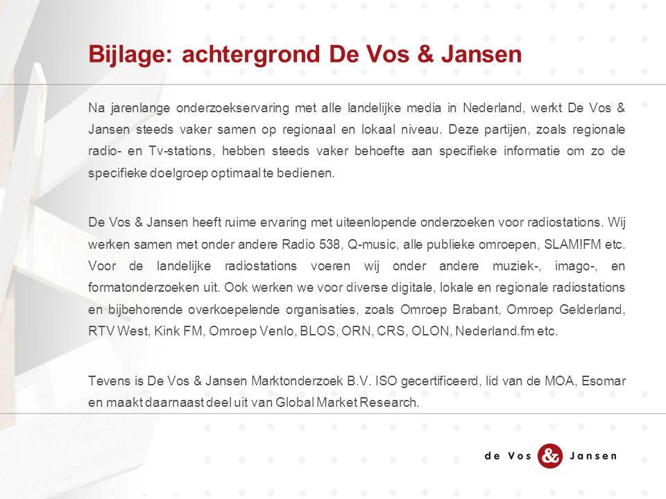 Bijlage: achtergrond De Vos & Jansen Na jarenlange onderzoekservaring met alle landelijke media in Nederland, werkt De Vos & Jansen steeds vaker samen op regionaal en lokaal niveau.