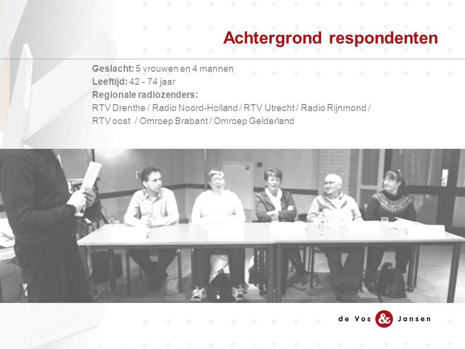 Geslacht: 5 vrouwen en 4 mannen Leeftijd: 42 - 74 jaar Regionale radiozenders: RTV Drenthe / Radio Noord-Holland / RTV Utrecht / Radio Rijnmond / RTV oost / Omroep Brabant / Omroep Gelderland Achtergrond respondenten