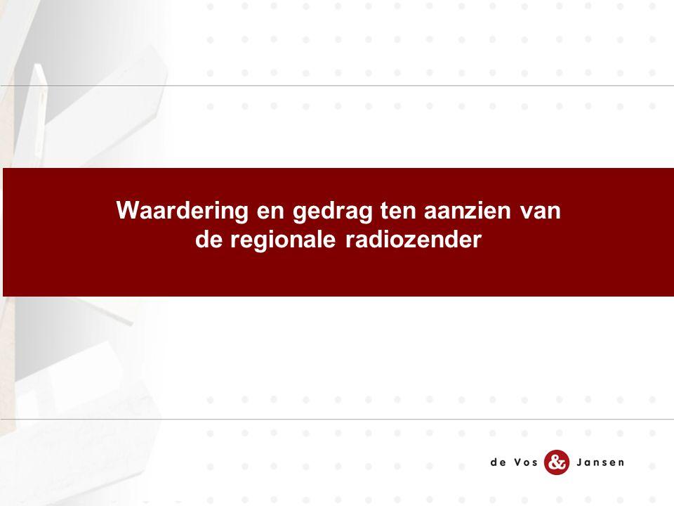 Waardering en gedrag ten aanzien van de regionale radiozender